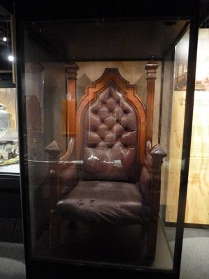 Speakers Chair from the Council Chamber on display in Quake City