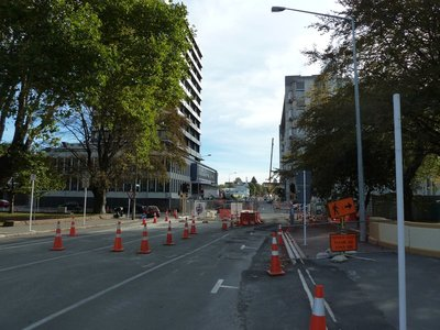 Typical street in Christchurch City Centre (the Police HQ is on the left)