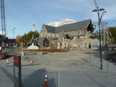 Christchurch's Cathedral Square, the scaffolding on the right is the only evidence left of the famous spire