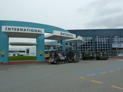 Hagglunds outside the International Antarctic Centre at Christchurch Airport