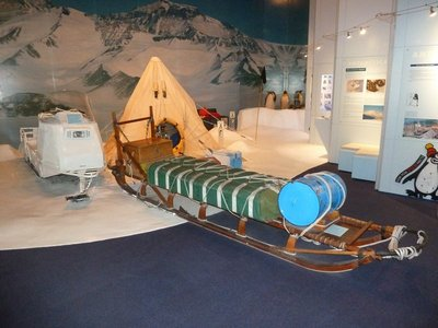 Display of various pieces of equipment used by Antarctic Explorers