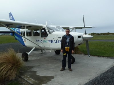 Me stood by the light plane we used to unsuccessfully search for whales off Kaikoura