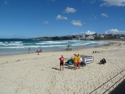 Lifeguards on duty on Bondi Beach
