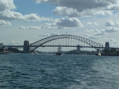 The replica of HMS Endeavour beneath the Sydney Harbour Bridge