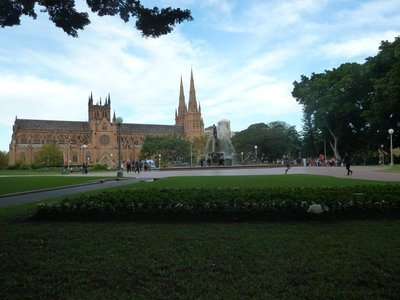 St Marys RC Cathedral with the Archibald Fountain in Hyde Park in the foreground