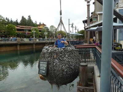 Me caught in a net of fish in Pacific Wharf