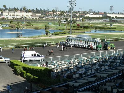 Loading the horses into the Starting Gate at Hollywood Park Race Track