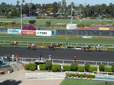 Horses racing around the Hollywood Park Race Track - One Lap to Go!
