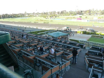 Rows of seat boxes at the Hollywood Park Race Track