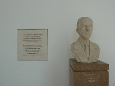Bust of J Paul Getty in the Entrance Hall of the Getty Center
