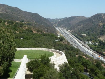Looking back down to the Lower Tram Station and Interstate 405 from the Getty Center