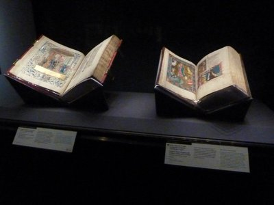 A couple of medieval manuscripts on display as part of an exhibition in the North Pavilion