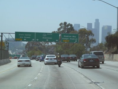 Making our way down the Freeway - Dodgers Stadium next exit