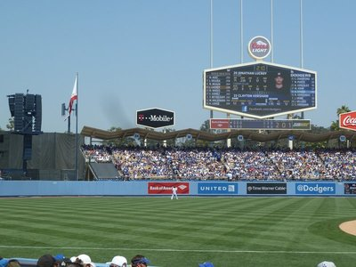 The stadium scorerboard, the Dodgers are ahead :-)