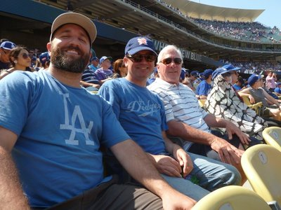 Enjoying the game with my cousins wearing my new LA Dodgers T-Shirt