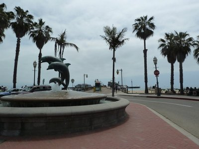 The Dolphin Statue at the entrance onto Santa Barbara Pier and Stearns Wharf