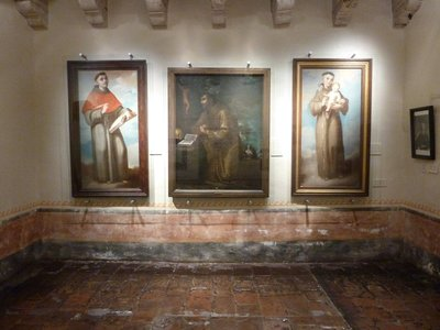 Paintings of Franciscan Friars within the museum inside the Old Santa Barbara Mission