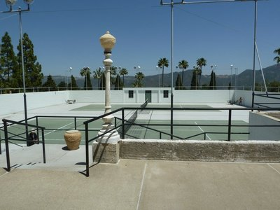 The tennis courts above the the indoor Roman Pool at Hearst Castle