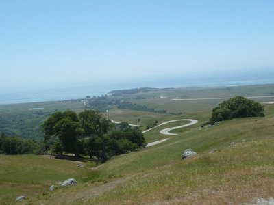 The view down to the ocean from the winding road up to Hearst Castle
