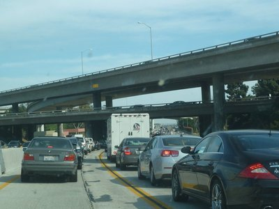 Traffic jam on Los Angeles' infamous Interstate 'four-oh-five' Freeway