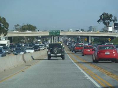 Wall to wall traffic on the I405 Freeway going through Los Angeles