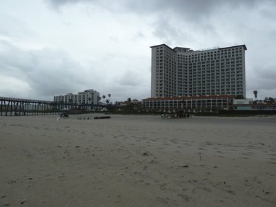 View from the beach of the Rosarito Beach Hotel