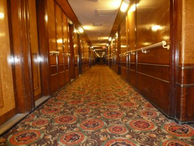 First class corridor stretching the length of the ship