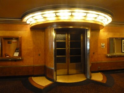 The art-deco entrance to the First Class Swimming Pool