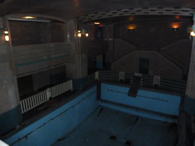 The darkened First Class Swimming Pool aboard the Queen Mary