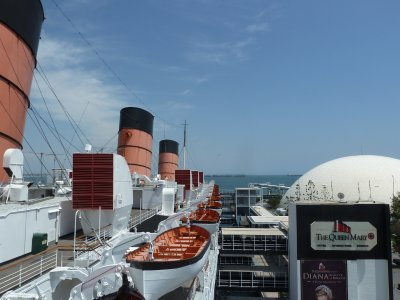 View back along the Queen Mary portside from outside the Bridge