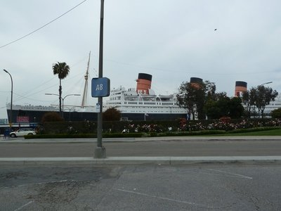 The RMS Queen Mary berthed up at Long Beach