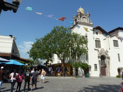 The top end of Olvera Street as seen from the Plaza