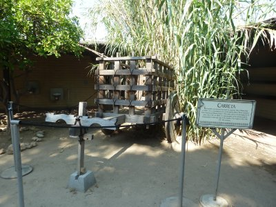 Reconstruction in the courtyard of the Avila Adobe of a wooden 'carretta' as used in the early days of Los Angeles