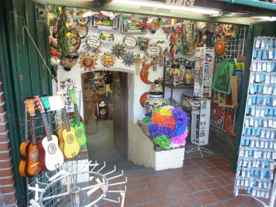 Colourful trinkets on sale in a shop on Olvera Street