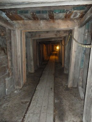 The mine shaft into the mountain