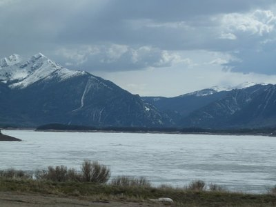 High mountains and a frozen lake in Summit County, Colorado