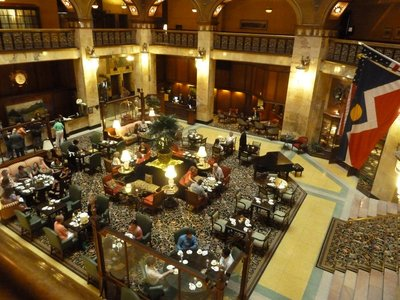 Afternoon tea being served in the lobby of the Brown Palace Hotel