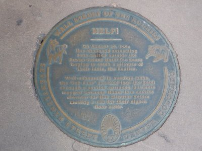 Sidewalk plaque commemorating the Beatles getting struck in a lift at the Brown Palace Hotel in 1964