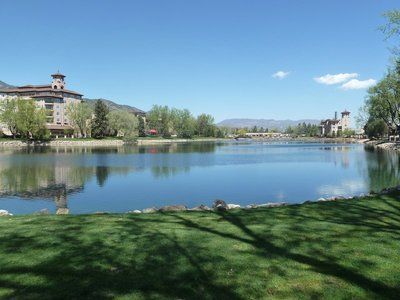 A view across the lake at the Broadmoor Hotel