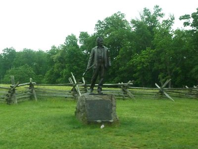 Statue of John Burns, a local retired policeman who turned up on the day to fight alongside the Union soldiers