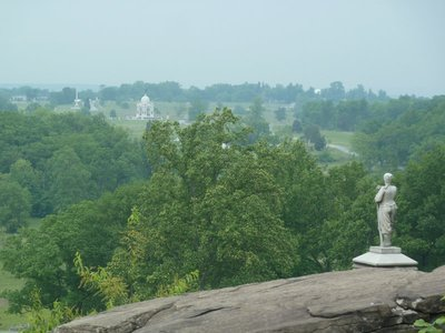 The white dome of the State of Pennsylvania Monument as seen from Little Round Top - the largest monument on the battlefield