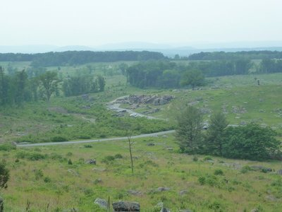 The boulders of the Devil's Den from Little Round Top