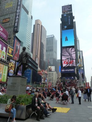 George Cohan's Statue and the north end of Times Square