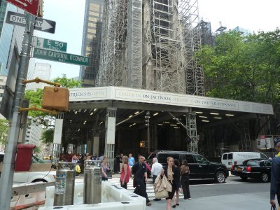 St. Patrick's Cathedral covered in scaffolding while its being renovated