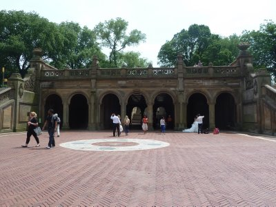The Bethesda Terrace Tunnel in Central Park (with a Chinese looking couple having wedding photographs taken - a recurring theme particularly in the USA and Australia)