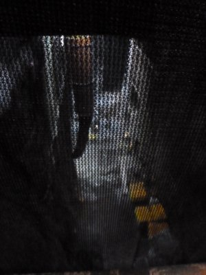 Inside the lift on the way down to the construction work
