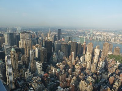 The view north east towards the Chrysler Building and UN from the 86th floor
