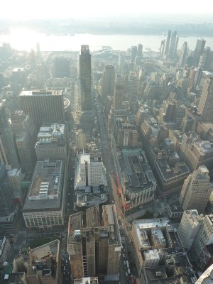 The view east towards Madison Square Gardens and New Jersey from the 86th floor