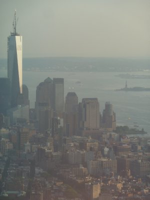 Close up of One World Trade Centre and the Statue of Liberty from the 102nd floor