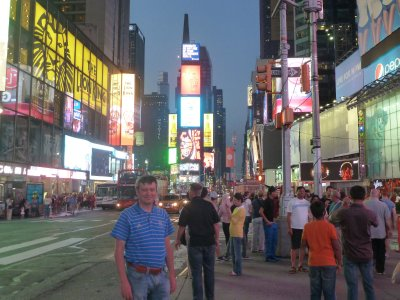 Me in Times Square at night ('Lion King' was on at the Minskoff Theatre on the left)